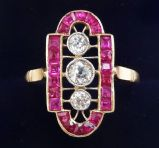 Gorgeous art deco 18ct 18k and white gold french cut ruby and diamond marquise vintage antique ring